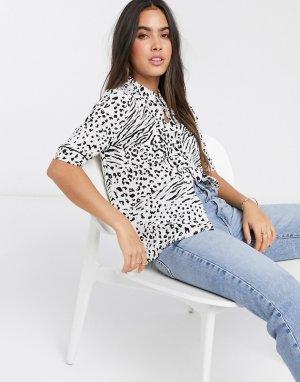 Рубашка с короткими рукавами и леопардовым принтом -Мульти Ichi