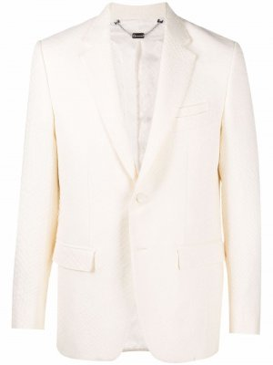 Жаккардовый пиджак с крокодиловым узором Billionaire. Цвет: белый
