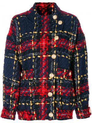 Твидовая куртка-бомбер Balmain. Цвет: многоцветный