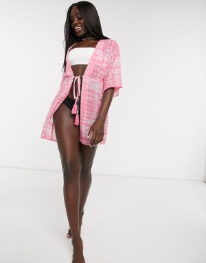 Розовое пляжное кимоно с принтом тай-дай -Розовый Influence