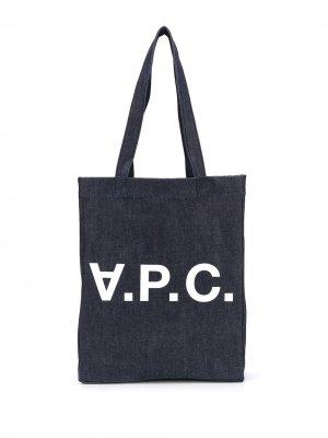 Джинсовая сумка-тоут с логотипом A.P.C.. Цвет: синий