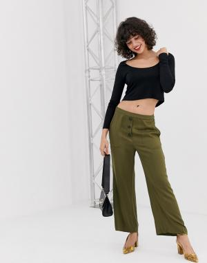 Расклешенные брюки в стиле милитари -Зеленый Vero Moda