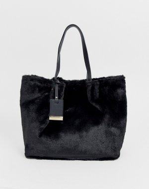 Черная большая сумка-тоут Furly-Черный Carvela