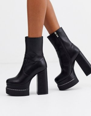 Черные ботинки на массивной платформе -Черный Lamoda