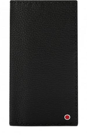 Кожаное портмоне с отделениями для кредитных карт Kiton. Цвет: черный