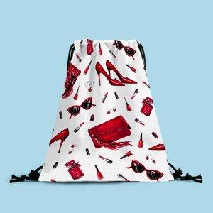 Рюкзак на шнурке с рисунком губной помады и пятки SHEIN. Цвет: красный и белый