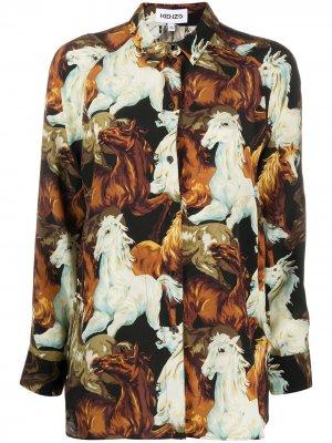 Рубашка с принтом Kenzo. Цвет: коричневый