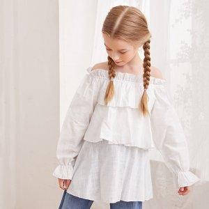 Для девочек Блуза с открытыми плечами рукавами-воланами SHEIN. Цвет: белый