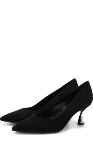 Замшевые туфли на каблуке kitten heel Casadei. Цвет: черный