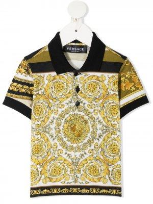 Рубашка поло с принтом Barocco Young Versace. Цвет: белый