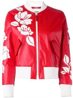 Куртка-бомбер с цветочным принтом Fendi. Цвет: красный