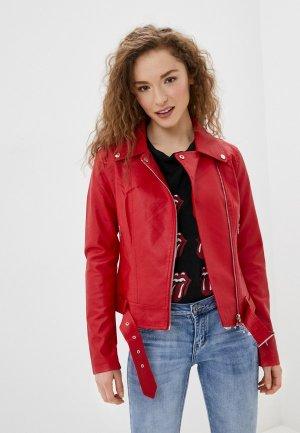 Куртка кожаная Adrixx. Цвет: красный