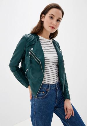Куртка кожаная Vero Moda. Цвет: зеленый