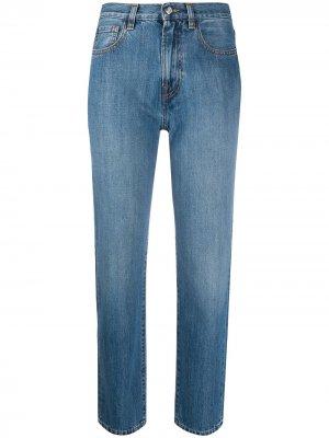 Укороченные джинсы прямого кроя Moncler. Цвет: синий