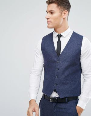 Зауженный жилет из ткани с добавлением итальянской шерсти -Голубой Selected Homme