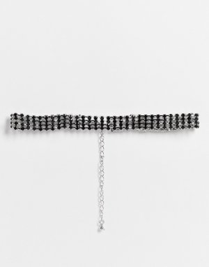 Ожерелье-чокер с отделкой черными стразами Halloween-Черный цвет ASOS DESIGN