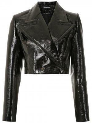 Лакированная байкерская куртка À La Garçonne. Цвет: черный