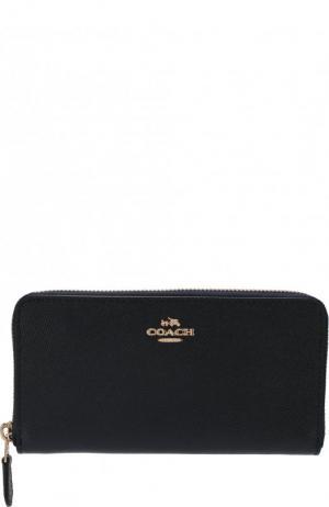 Кожаный кошелек на молнии Coach. Цвет: темно-синий