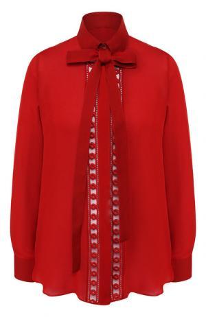 Блуза из смеси шелка и хлопка с бантом Elie Saab. Цвет: красный