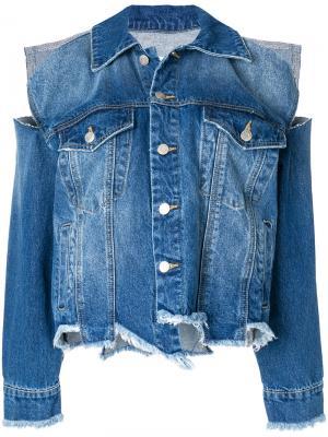 Джинсовая куртка с прорванными деталями SJYP. Цвет: синий