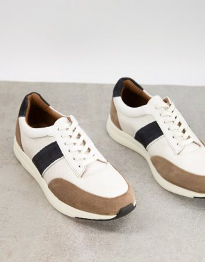 Белые кроссовки из комбинированной кожи с полосками по бокам -Белый Dune