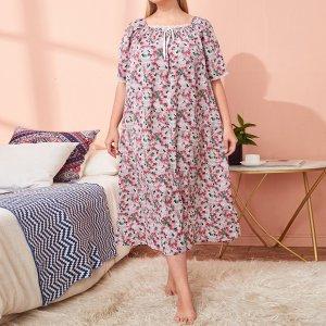 Галстук большого размера с квадратным вырезом Маленькая ночная рубашка цветочным принтом SHEIN. Цвет: многоцветный