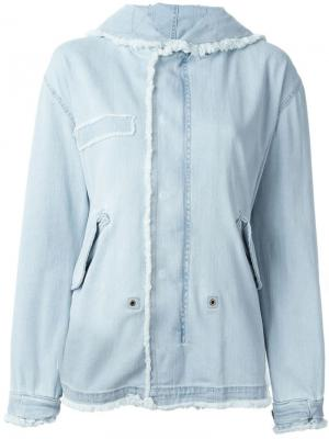 Frayed denim hooded jacket Mr & Mrs Italy. Цвет: синий