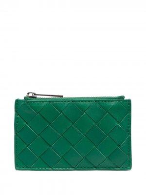 Ключница с плетением Intrecciato Bottega Veneta. Цвет: зеленый