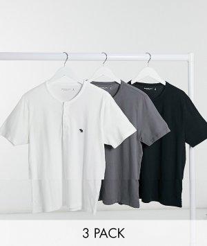 Набор из 3 топов-хенли (черный/белый/серый) -Мульти Abercrombie & Fitch