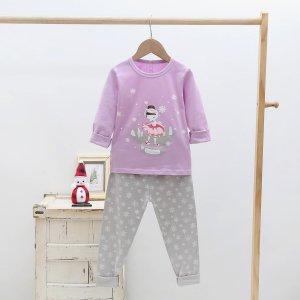 Для девочек Пижама графический и с принтом снежинки SHEIN. Цвет: многоцветный
