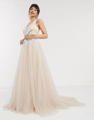 Свадебное сетчатое платье с вышитым лифом -Белый ASOS EDITION