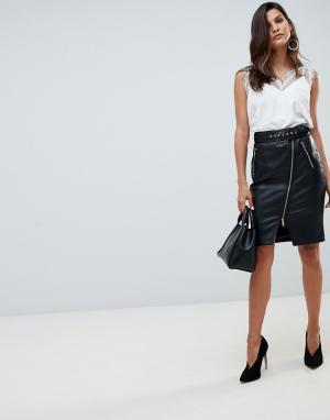Черная юбка-карандаш миди из полиуретана Morgan