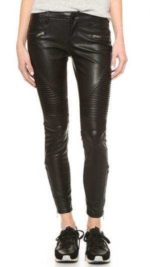 Black Vegan Leather Moto Pants Blank Denim