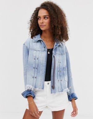 Джинсовая куртка с необработанной нижней кромкой Dillon-Синий Free People