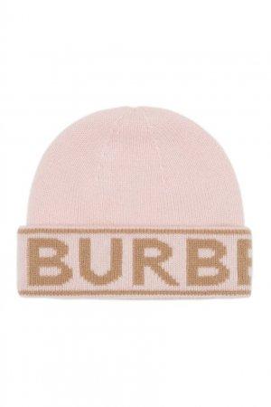 Розовая шапка с надписью Burberry. Цвет: розовый