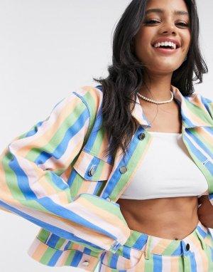 Джинсовая полосатая куртка от комплекта -Многоцветный Daisy Street