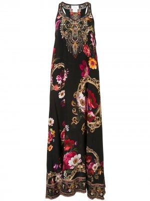 Платье с цветочным принтом Camilla. Цвет: черный