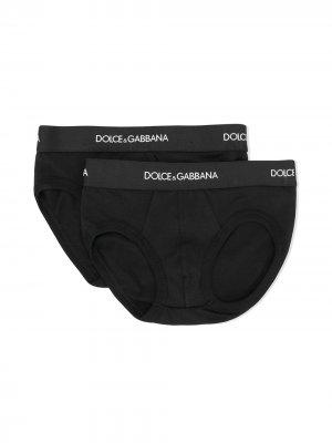 Комплект из двух трусов с контрастным логотипом Dolce & Gabbana Kids. Цвет: черный
