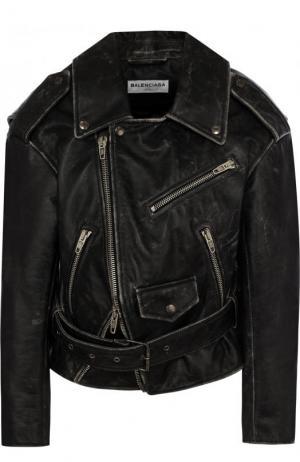 Кожаная куртка свободного кроя с косой молнией Balenciaga. Цвет: серый