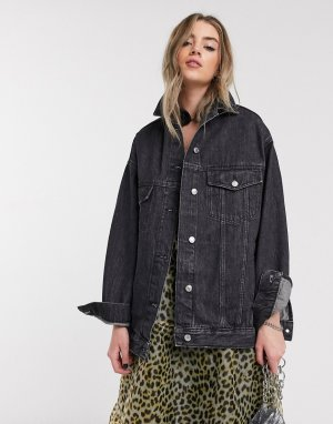 Черная джинсовая oversized-куртка -Черный Topshop