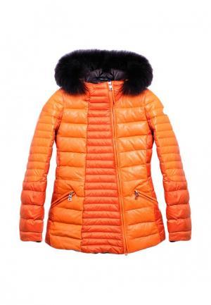 Пуховик кожаный AFG. Цвет: оранжевый