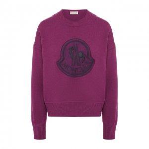 Пуловер из смеси шерсти и кашемира Moncler. Цвет: фиолетовый