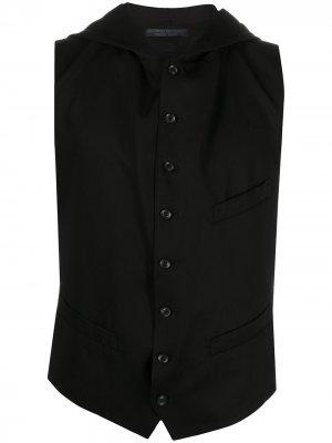 Жилет с капюшоном и открытой спиной Yohji Yamamoto. Цвет: черный