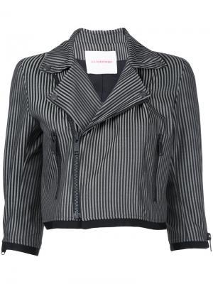 Укороченная куртка в полоску A.F.Vandevorst. Цвет: серый