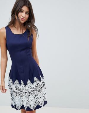 Платье с контрастным принтом -Темно-синий Louche