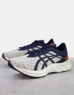 Кремовые кроссовки со вставками темно-синего цвета Running Novablast-Темно-синий Asics