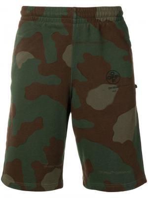 Спортивные шорты с камуфляжным принтом Off-White. Цвет: зеленый