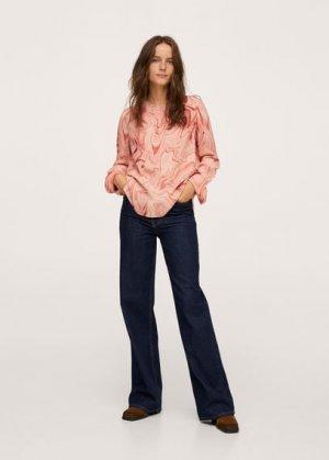 Блузка с мраморным принтом - Janeiro Mango. Цвет: пастельно-розовый