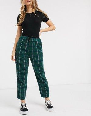 Свободные прямые брюки в клетку со шнурком на поясе -Зеленый Daisy Street