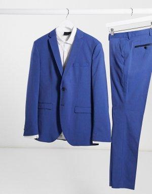 Синий пиджак узкого кроя -Голубой Selected Homme